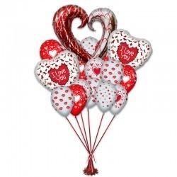 Букет «Сердце » из 20 воздушных шаров  3 фольгированных фигур