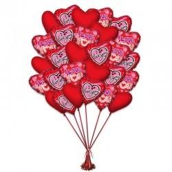 Букет «Яркое Сердце» из 25 воздушных шаров  сердечек