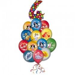 Букет «Поздравления от персонажей мультфильмов» из 17 шаров
