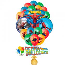 Композиция из 23 и воздушных шариков «Неуловимый  Спайдермен»