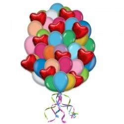 Букет из 39 воздушных шаров «Сердца среди шаров»
