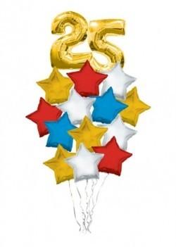 Композиция  «Звездная дата» из 17 фольгированных шариков