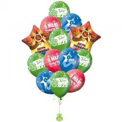 Воздушные шары на 9 мая - композиция из 25 шариков