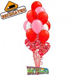 Композиция из 27 воздушных шариков на  День Святого Валентина