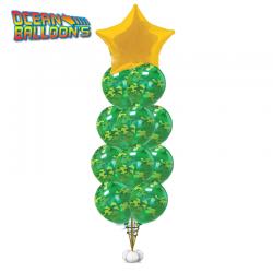 Букет  «Звезда и шарики  камуфляже» из 20 воздушных шаров камуфляж