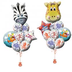 Композиции из воздушных шаров «Поздравление от зебры и жирафа»