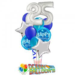 «Серебряная звезда» букет на дань рождения из 21  шаров