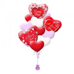 «I love you» букет из 20 воздушных шаров с гелием