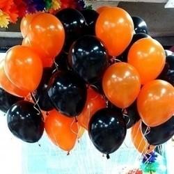 Воздушные шарики к 9 Мая оранжевые и черные 50 штук