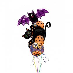 Композиция  «Хеллоунский кот и мышка» из 18  воздушных шаров