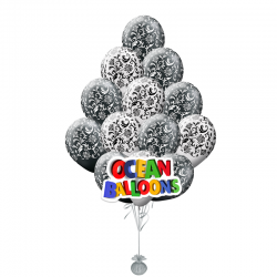 Композиция черно-белая Хохлома из 25 воздушных шариков