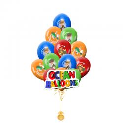Композиция  Гена и Чебурашка из 25гелиевых шариков