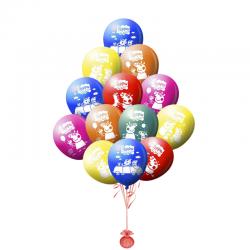 Разноцветные гелиевые шары Свинка Пеппа