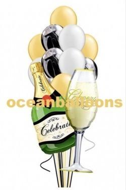 Праздничный букет из воздушных шаров «Бокал Шампанского»