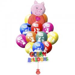 Букет из разноцветных воздушных шаров «Свинка Пеппа»