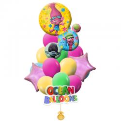 Красочный букет воздушных шаров «Тролли»