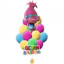 Яркий букет воздушных шаров «Тролли 2»