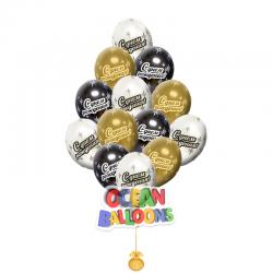 Воздушные шарики черные золотые и серебрение «С днем рождения»