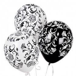 Воздушные шарки черно-белые Дамаск