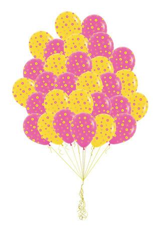 Розово- желтый каскад букет из 31 воздушных шаров