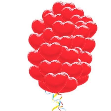«Облако для любимой» букет из 50 воздушных шаров сердечек