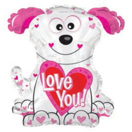 Фольгированный шар Белый щенок - Love You