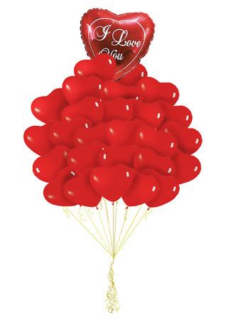 Букет «Эффектное признание» из 50 шаров сердец и 1 большое сердца