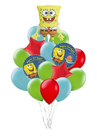 «Поздравление от Спанч Боба»букет из 21 воздушного шара