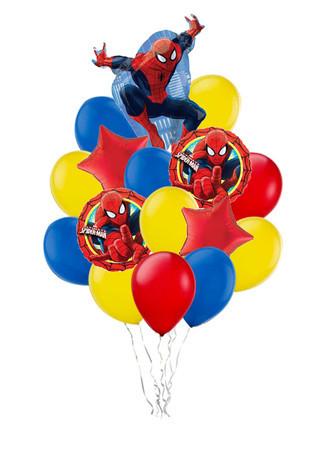 Букет «Невероятный Человек Паук» из 19 шаров и 1 фигуры