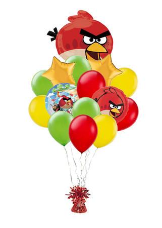 Букет «Angry Birds» из 20 воздушных шаров и 1 фигурки