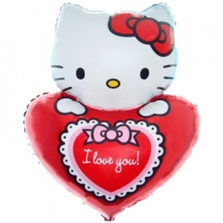 Фольгированный шар Hello Kitty с сердцем