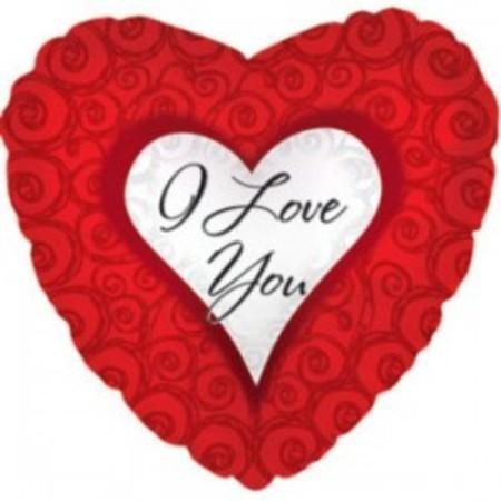 Шар из фольги сердце - I love you