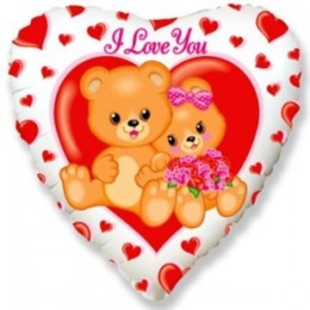 Фольгированный шар Медвежата - I love you