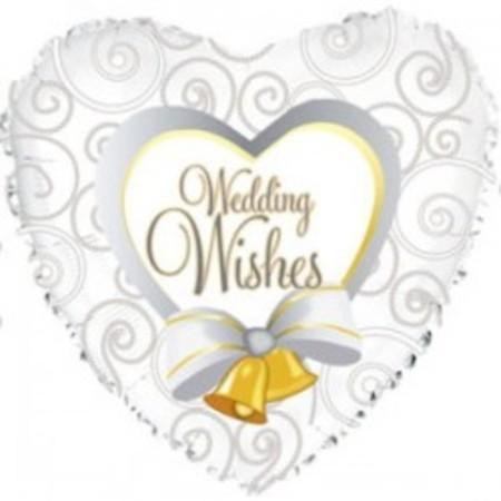 Фольгированный шар сердце «Свадебные пожелания»