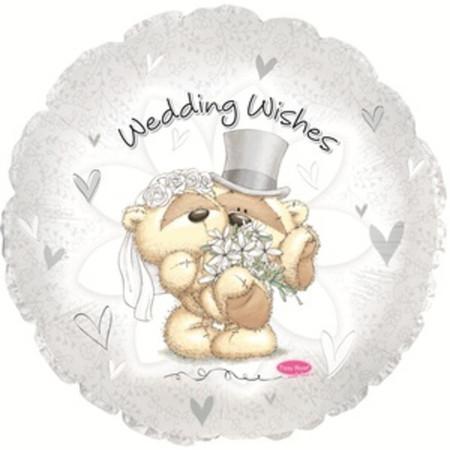 Фольгированный шар сердце «Свадебные пожелания с мишками»