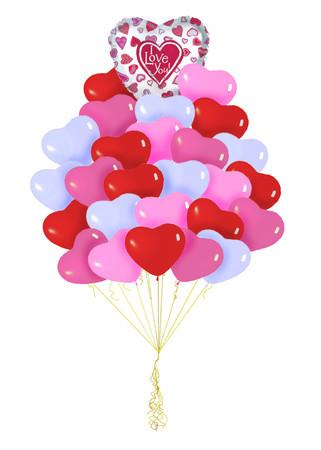 Букет «Сильные чувства» из 36 воздушных шаров-сердец