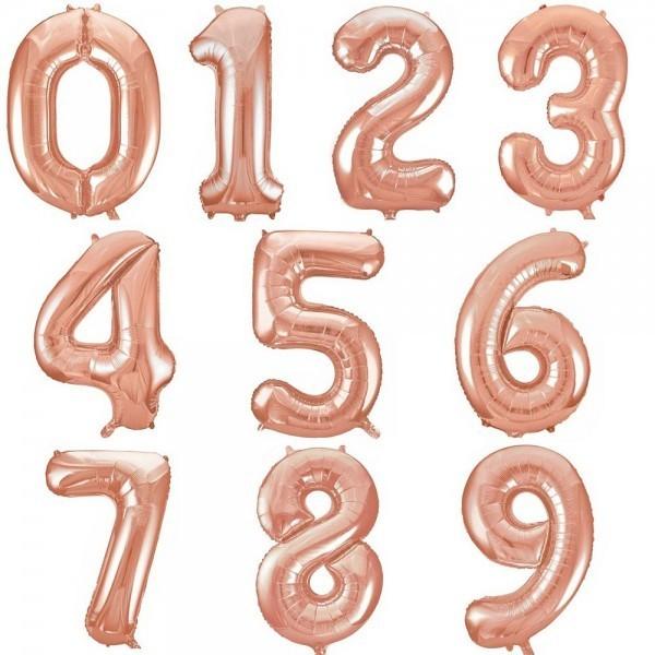 Фольгированные шары цифры Розовое Золото