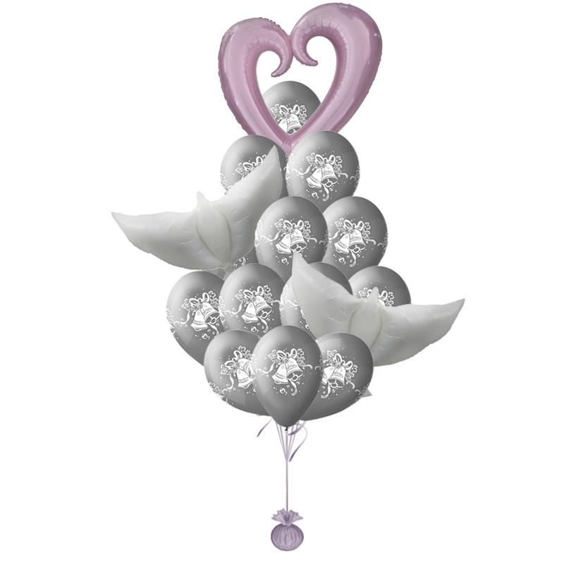«Серебрянаясвадьба» букет из воздушных шаров на свадьбу с гелием