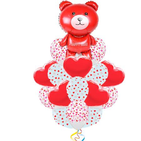 Букет для любимой «Праздничный мишка» из 21 воздушных шаров