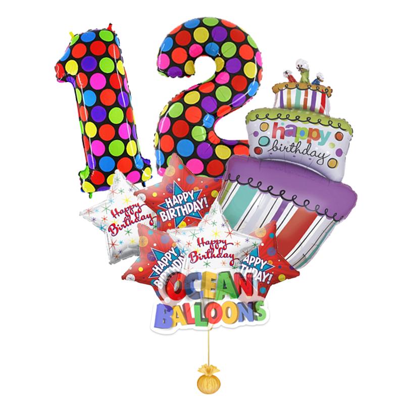 Яркий букет из фольгированных шаров «С днем рождения»