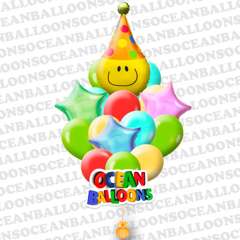 «Забавный Клоун» букет из 24 воздушных шаров