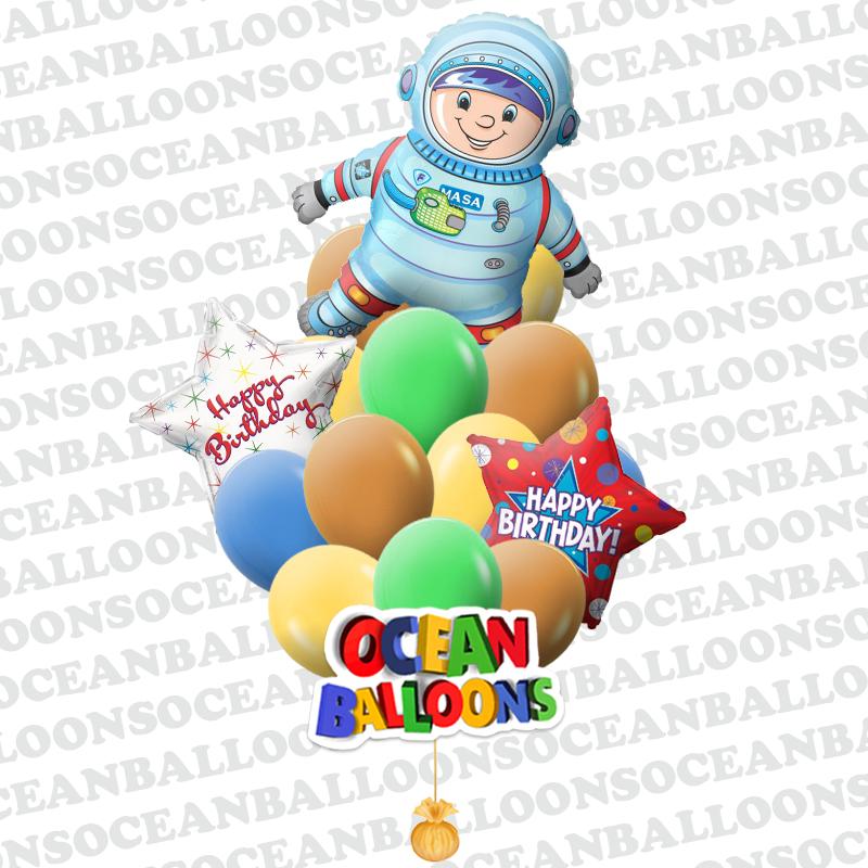 Букет шаров на День рождения детей «Космонавт»
