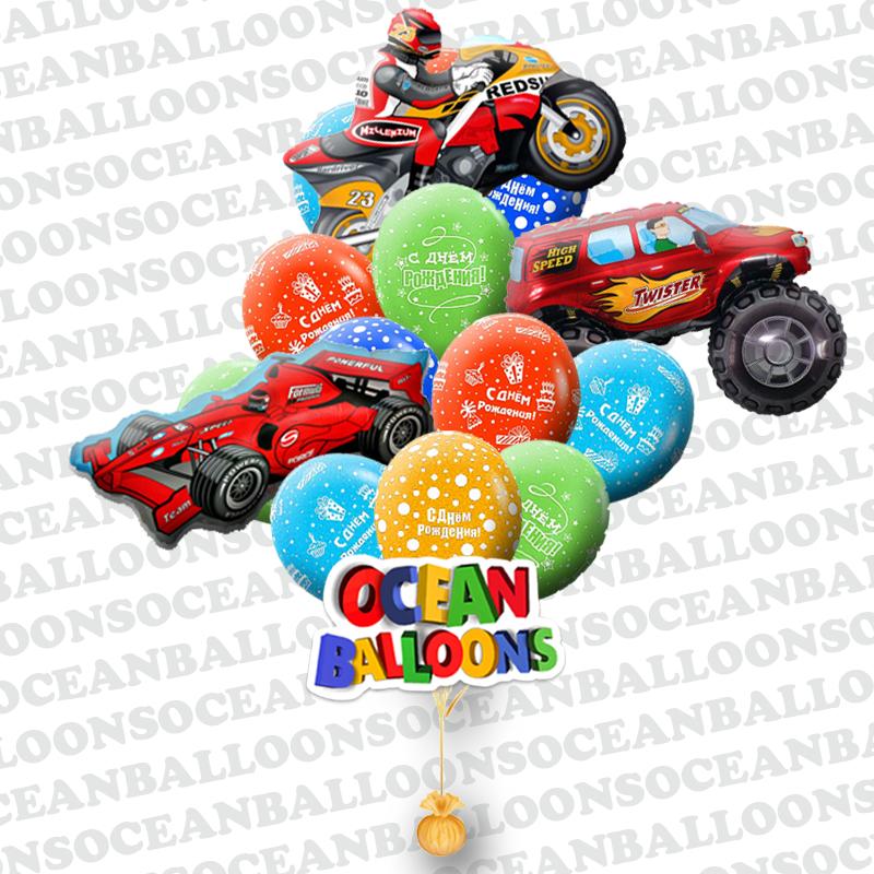 Букет «Поздравление для молодого автолюбителя» из 33 воздушных шаров