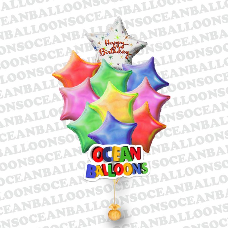 Звезда букет из 10 воздушных шаров на день рождения
