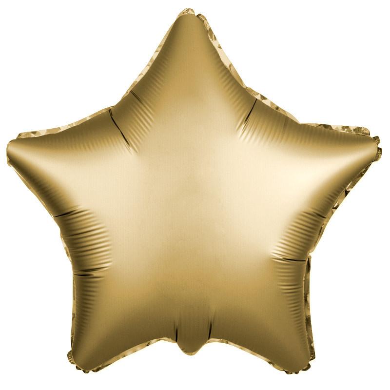 Шар Звезда, Золото, Сатин.