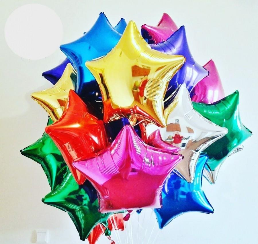 Фольгированные разноцветные в шары звезды
