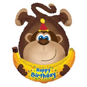 Фольгированная фигура из шариков, Обезьянка с днем рождения