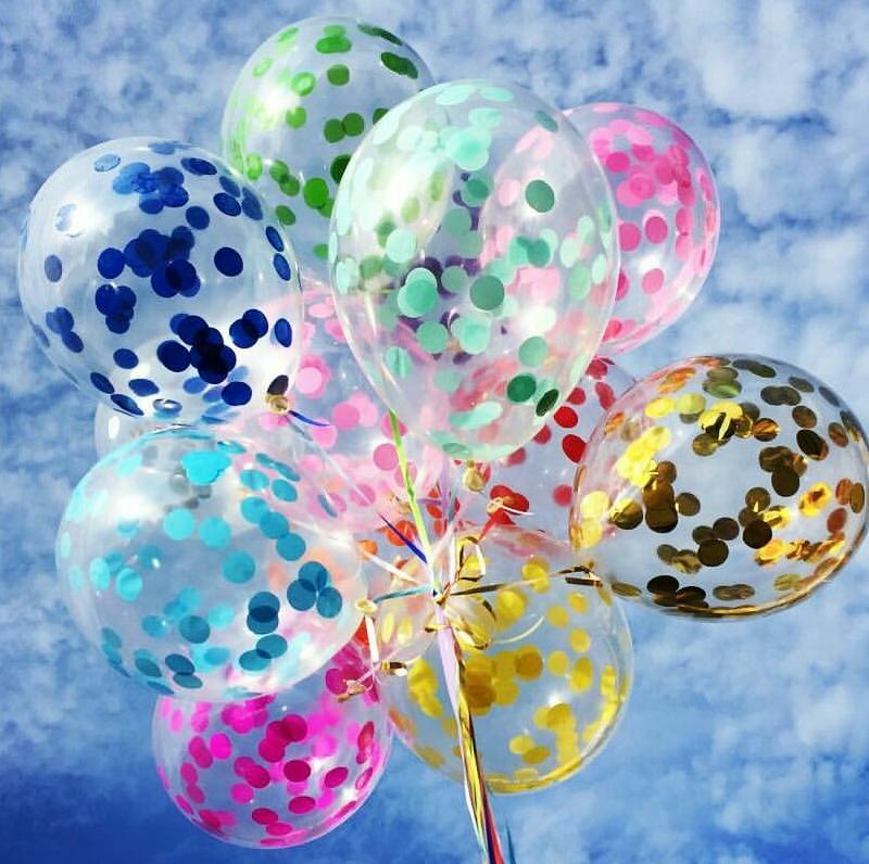 Разноцветные гелиевые шарики с конфетти