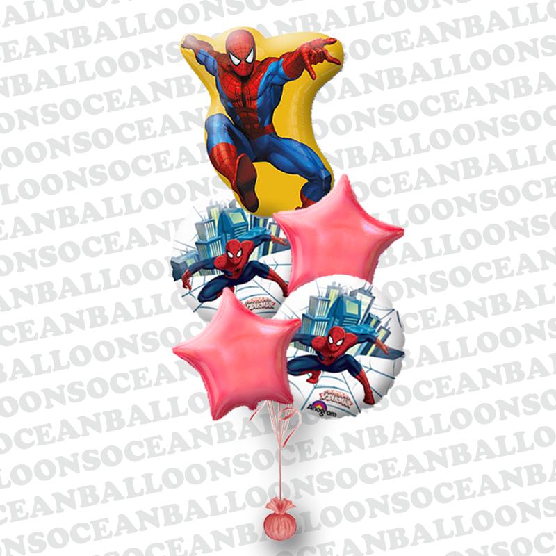 Букет из фольгированных шариков «Спайдермен спешит на помощь»