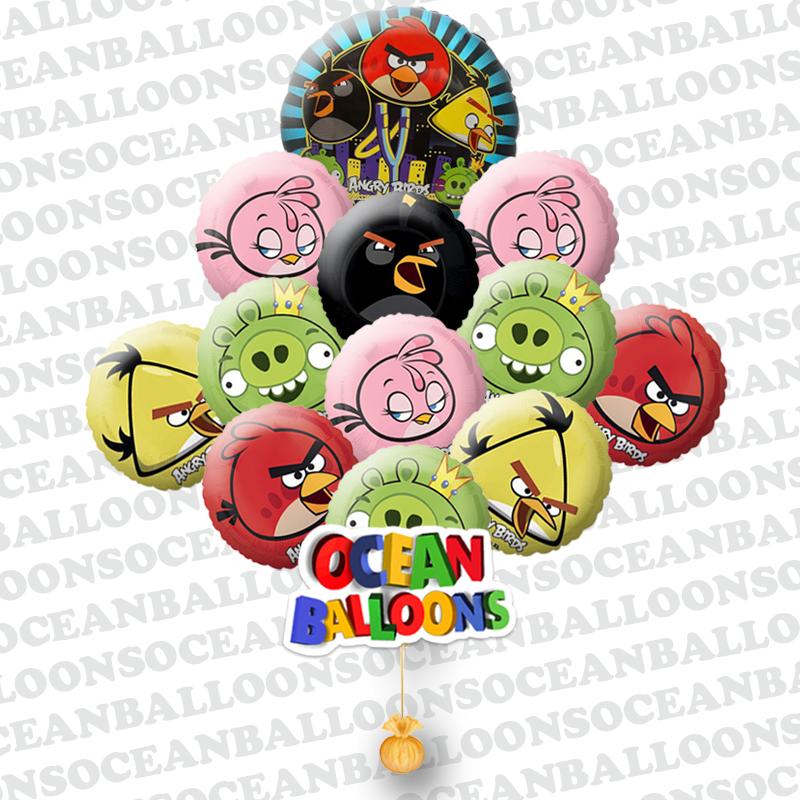 Букет «Поющие поздравления от Angry Birds»  шары на день рождения